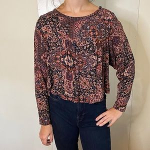 NEW NEVER WORN Maroon Print Crop Blouse